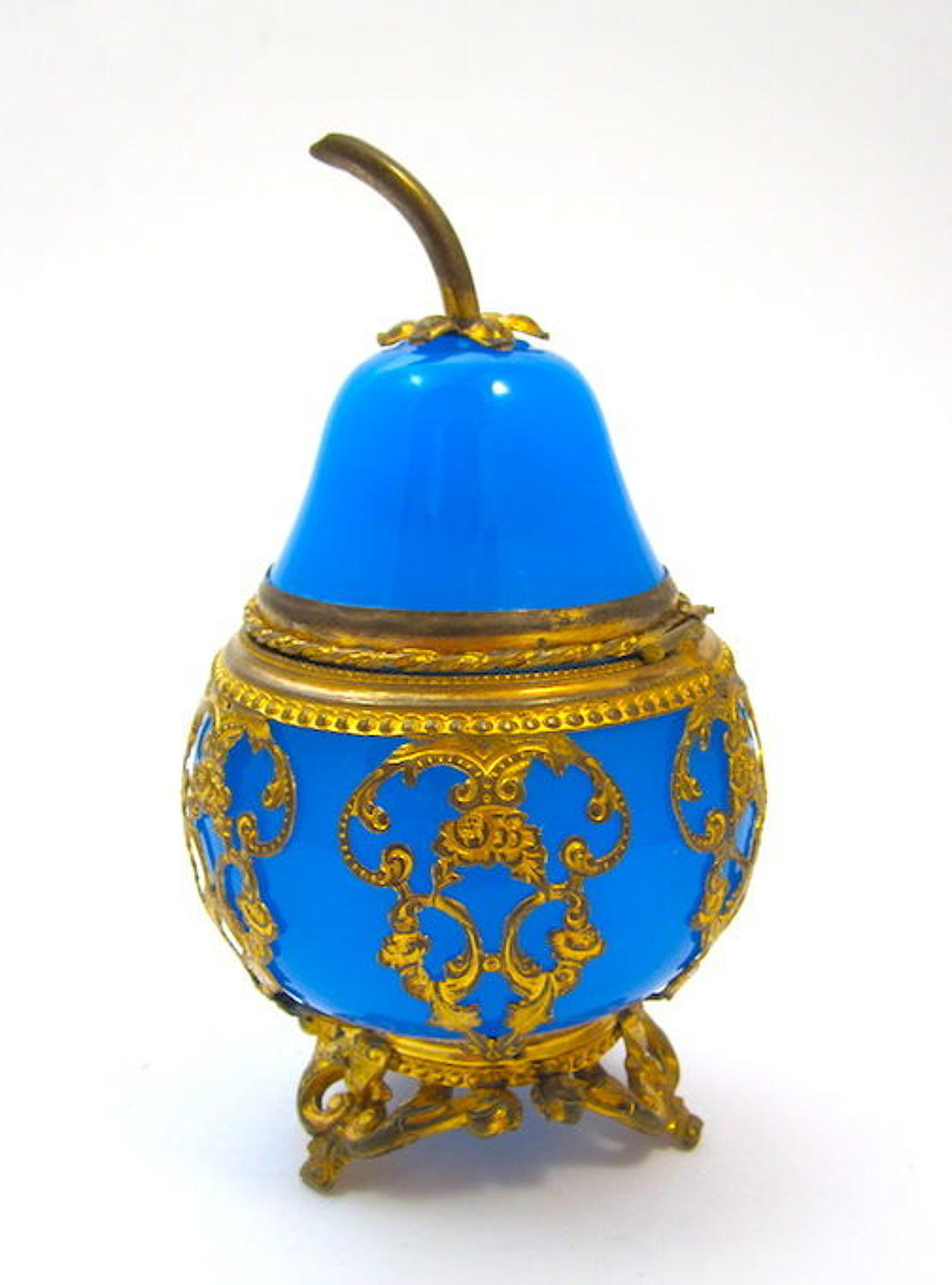 Rare Antique Palais Royal Blue Opaline Glass Pear-Shaped Casket Box.