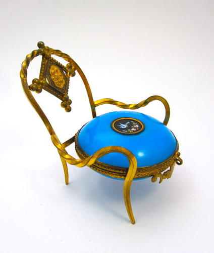 Antique French Palais Royal Blue Opaline Glass Ring Holder