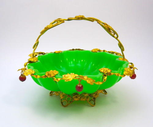 Very Large Antique French Palais Royal Green Opaline Glass Basket