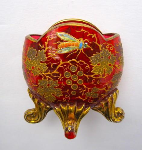Beautiful Antique Miniature MOSER Cranberry Glass Vase