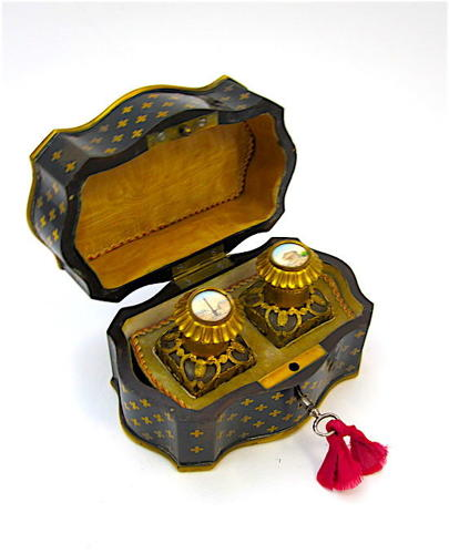 Antique French Box in La Reine Design with 2 Perfume Bottles