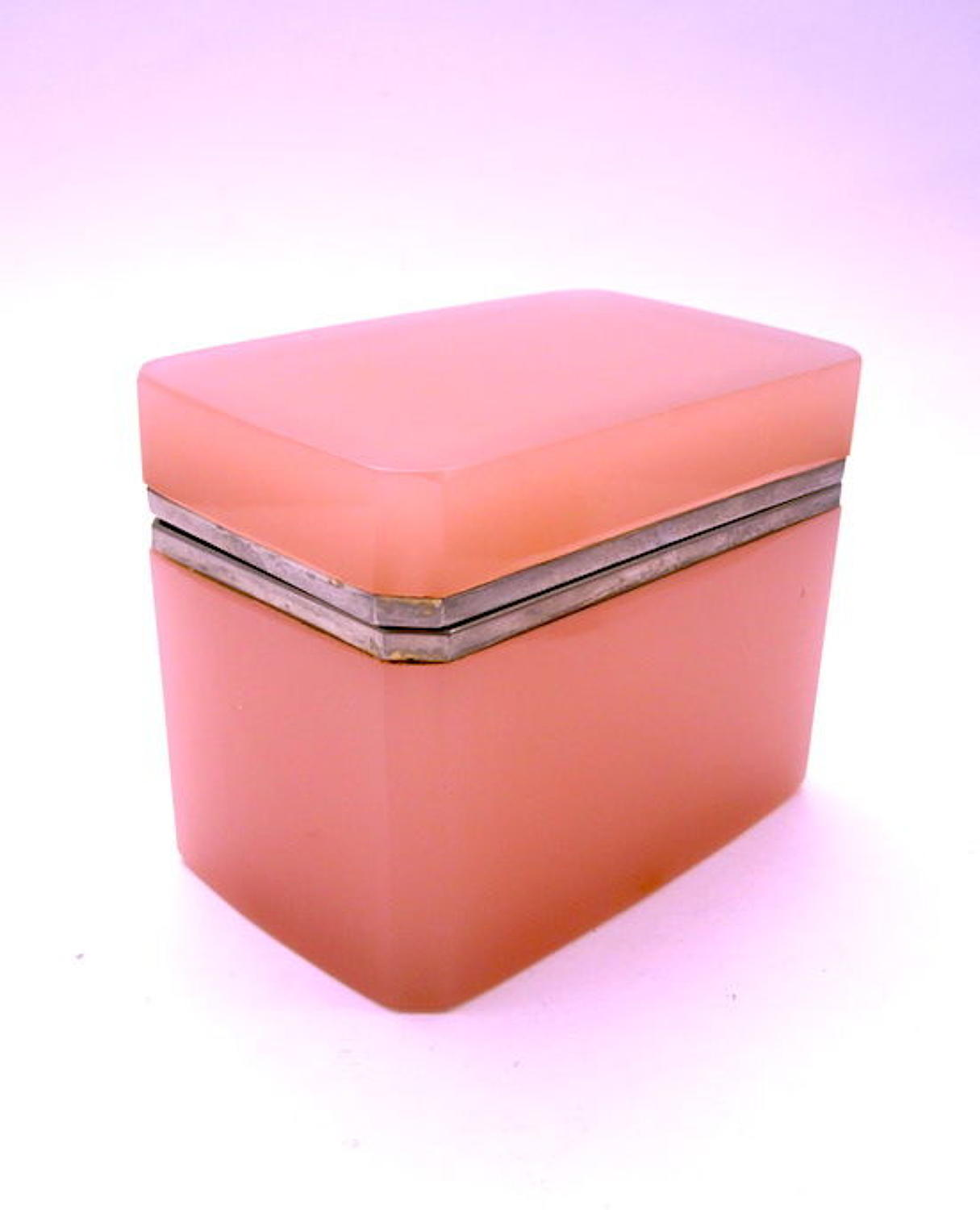 Vintage Italian Murano Pink Opaline Glass Casket Box with Smooth Mount