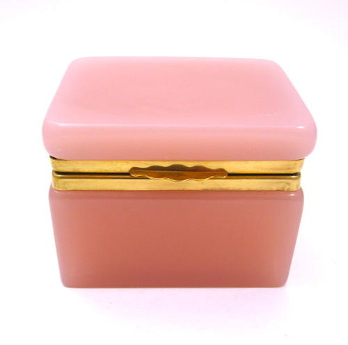 Antique French Pink Opaline Glass Casket Box