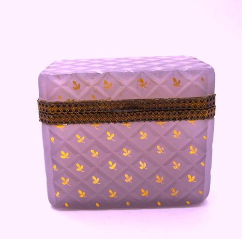Antique French Lilac Opaline Glass Casket Box