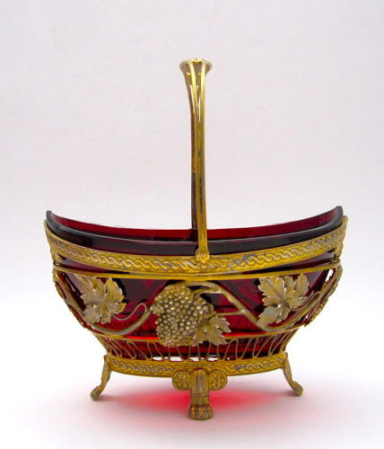 Antique French Ruby Red Basket withFine Gilded Silver Mounts