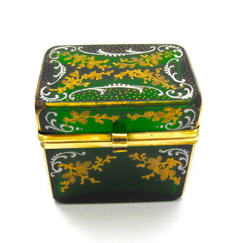 Miniature Antique MOSER Green Glass Casket