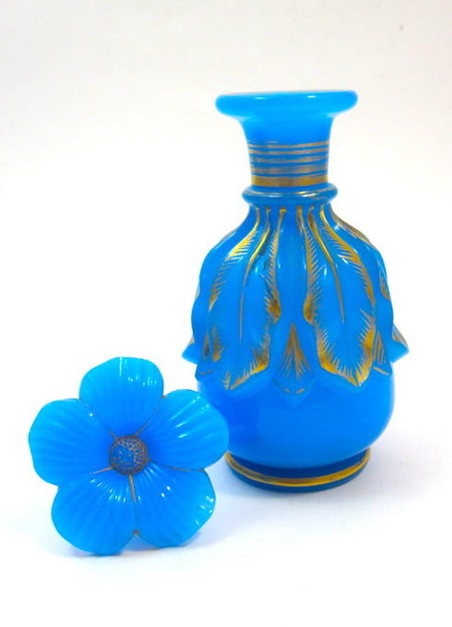 Antique Baccarat Blue Opaline Glass Perfume Bottle Flower Stopper
