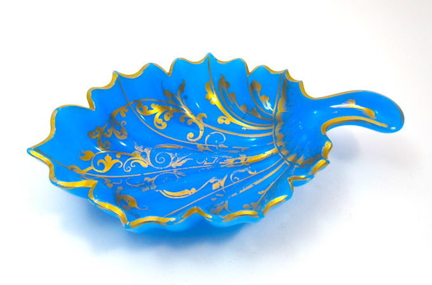 Antique French Blue Opaline  Glass Leaf Dish Highlighted in Gold.