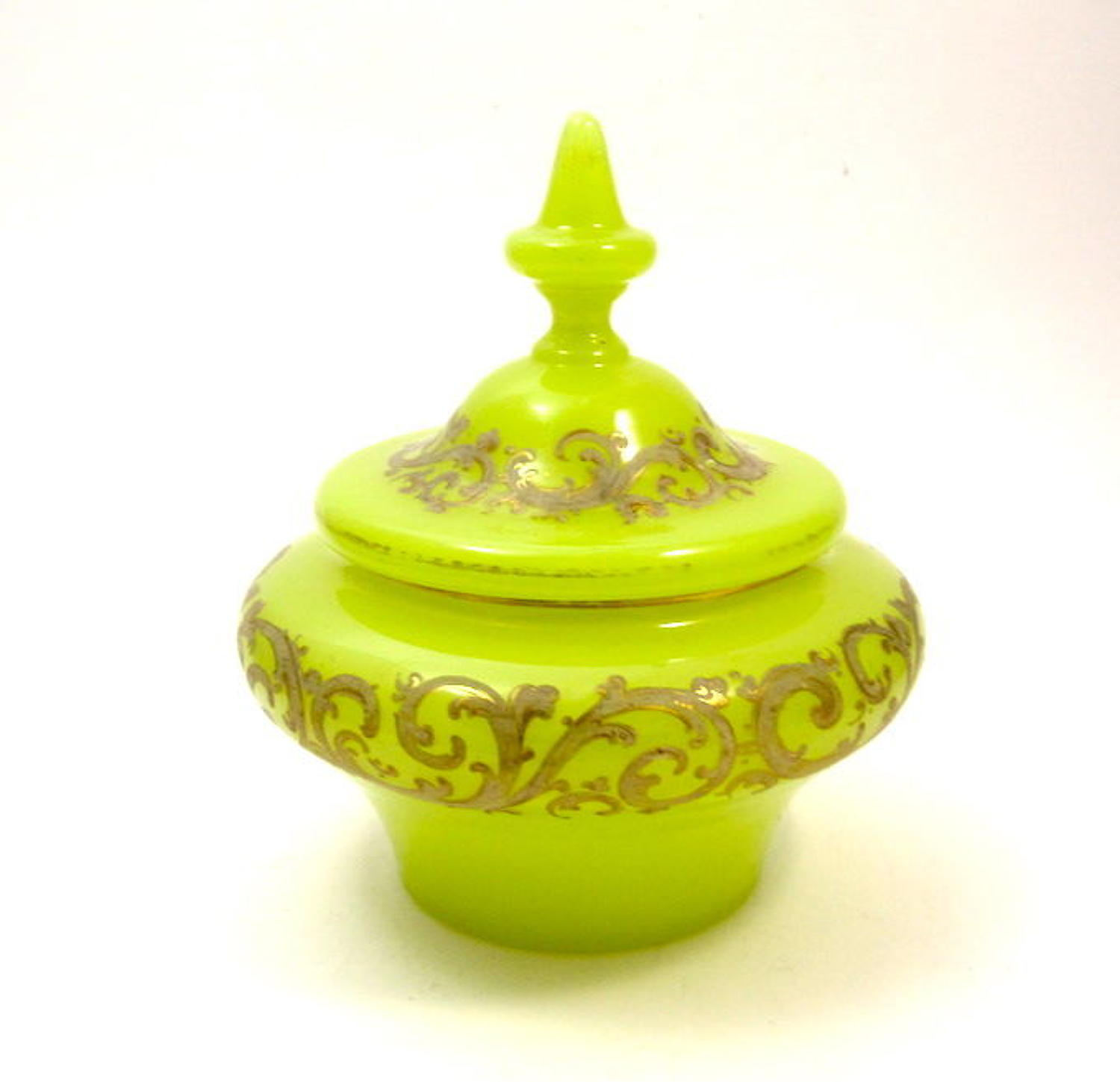RARE Antique Yellow Opaline Glass Bowl and Cover with Fine Enamelling.
