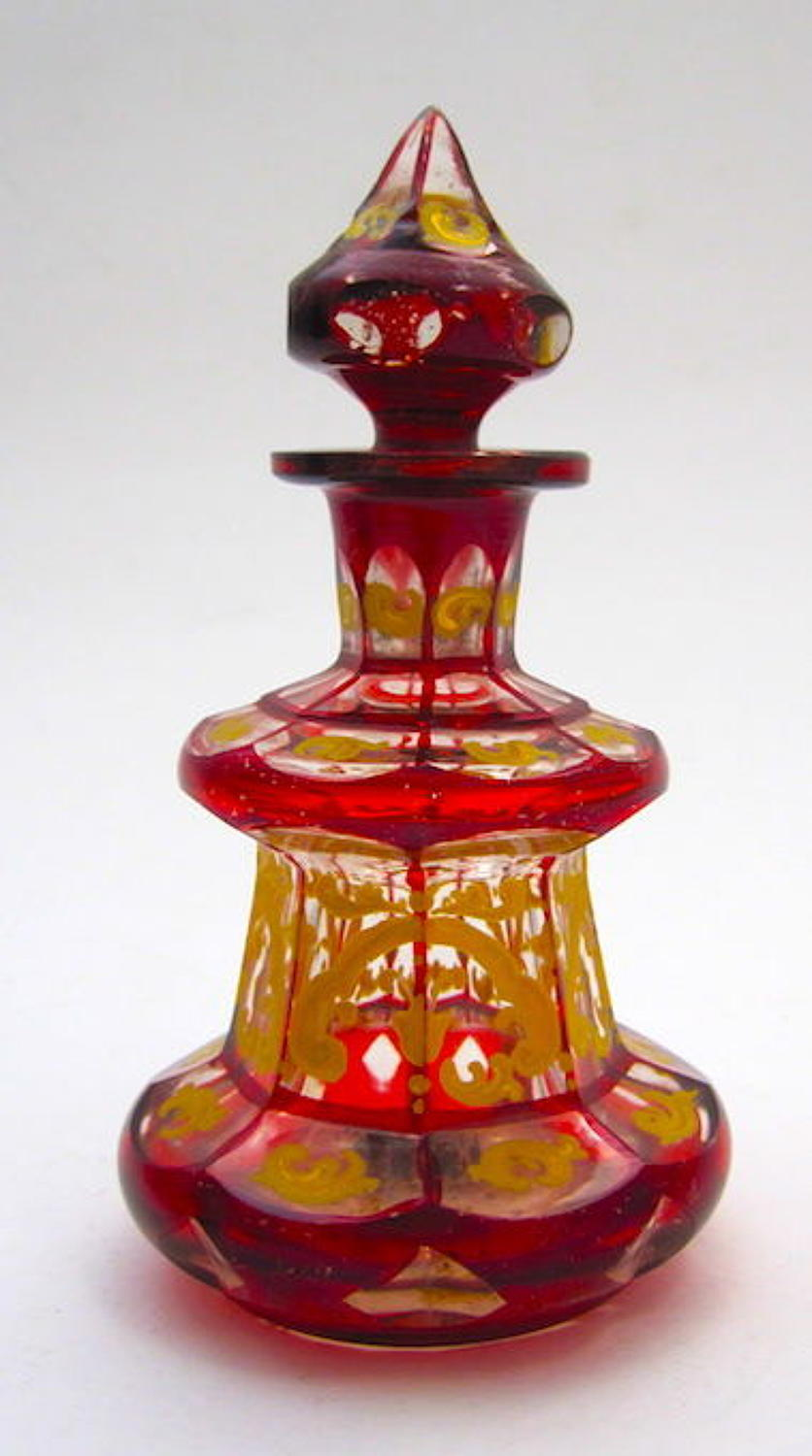 A Small Antique Bohemian Deep Ruby Red Glass Perfume Bottle