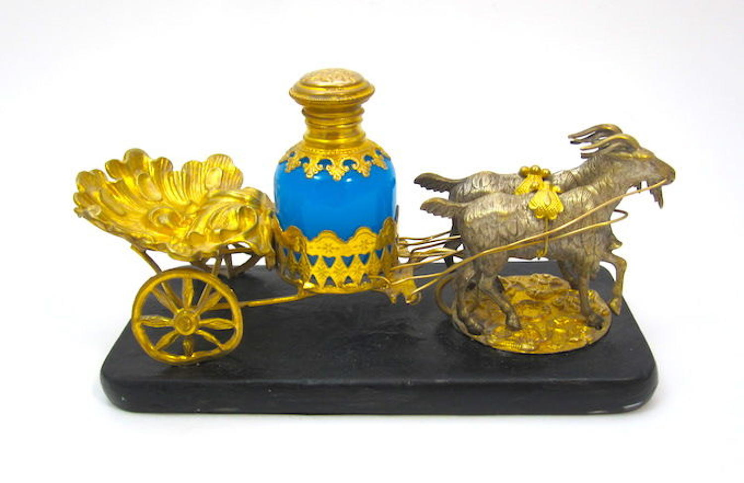 Antique Palais Royal Dore Bronze Cart and Opaline Glass Perfume Set