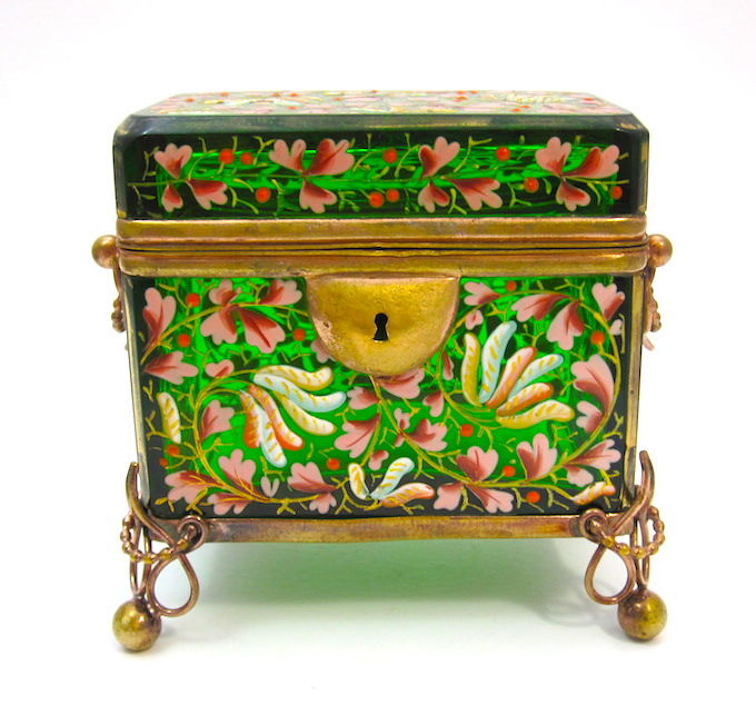 Antique MOSER Bohemian Emerald Green Enamelled Casket Box