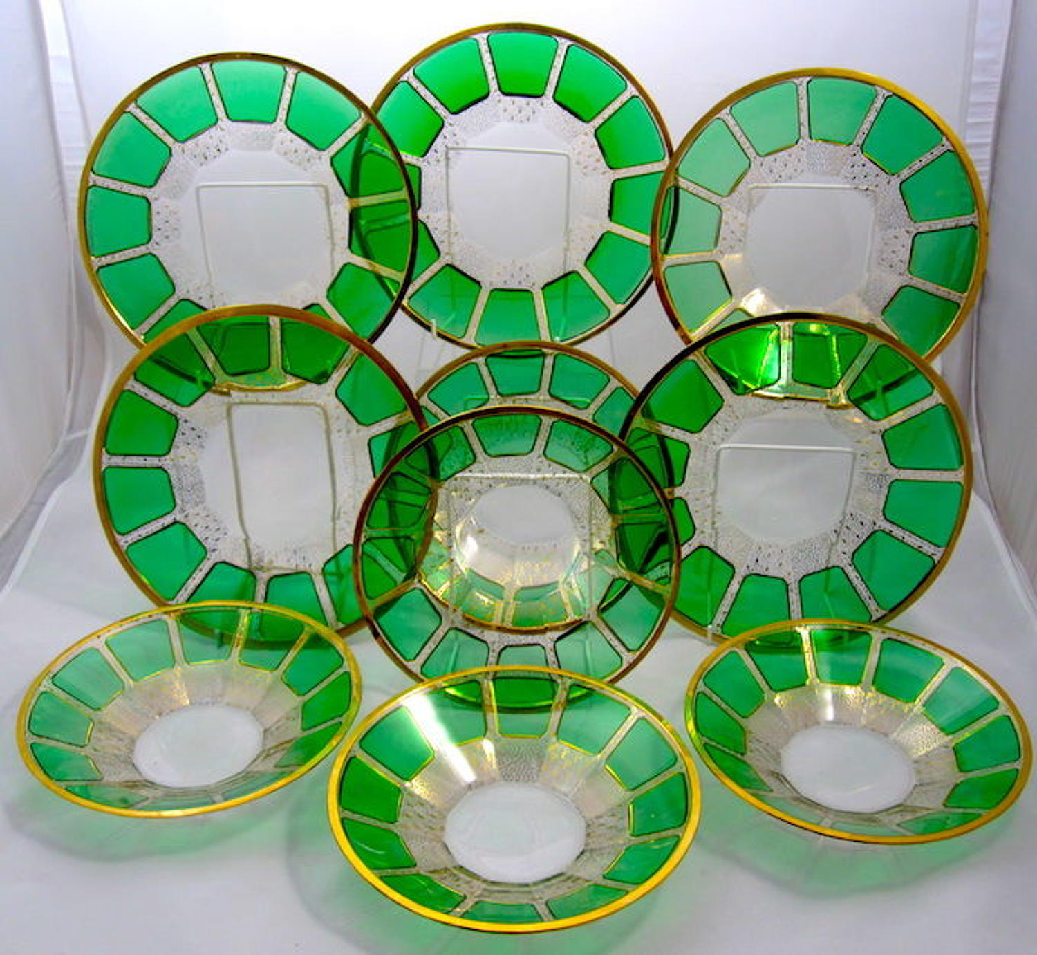 Set of 10 MOSER Bohemian Green Cut to Clear Three Layer Cased Plates