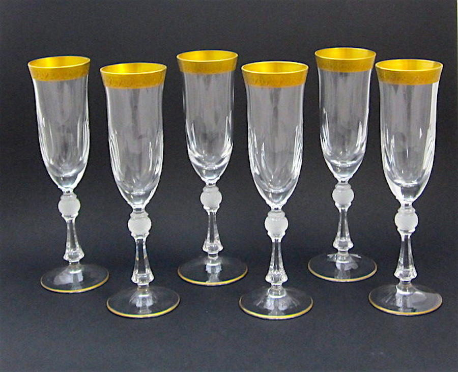 Set of 6 St Louis Crystal Fluted Champagne Glasses