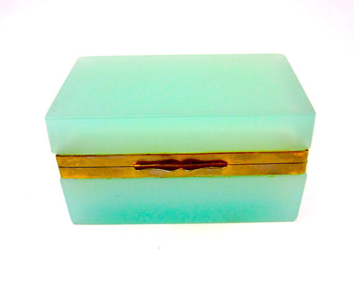Antique Murano Mint Opaline Glass Casket Box