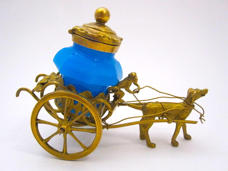 Palais Royal Dore Bronze Cart Ink Pot Pulled a Dog and Monkey
