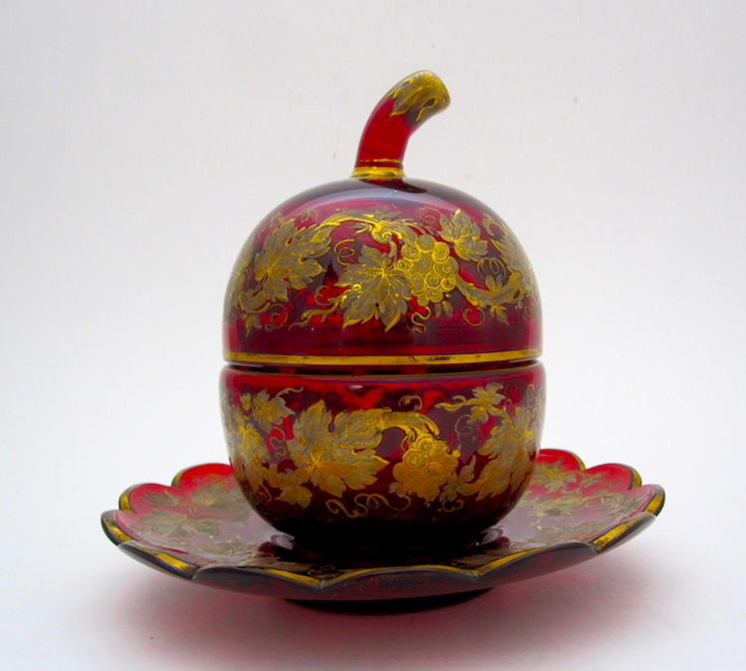 Antique Bohemian Ruby Red Glass 'Pumpkin' Shaped Enamelled Casket Box