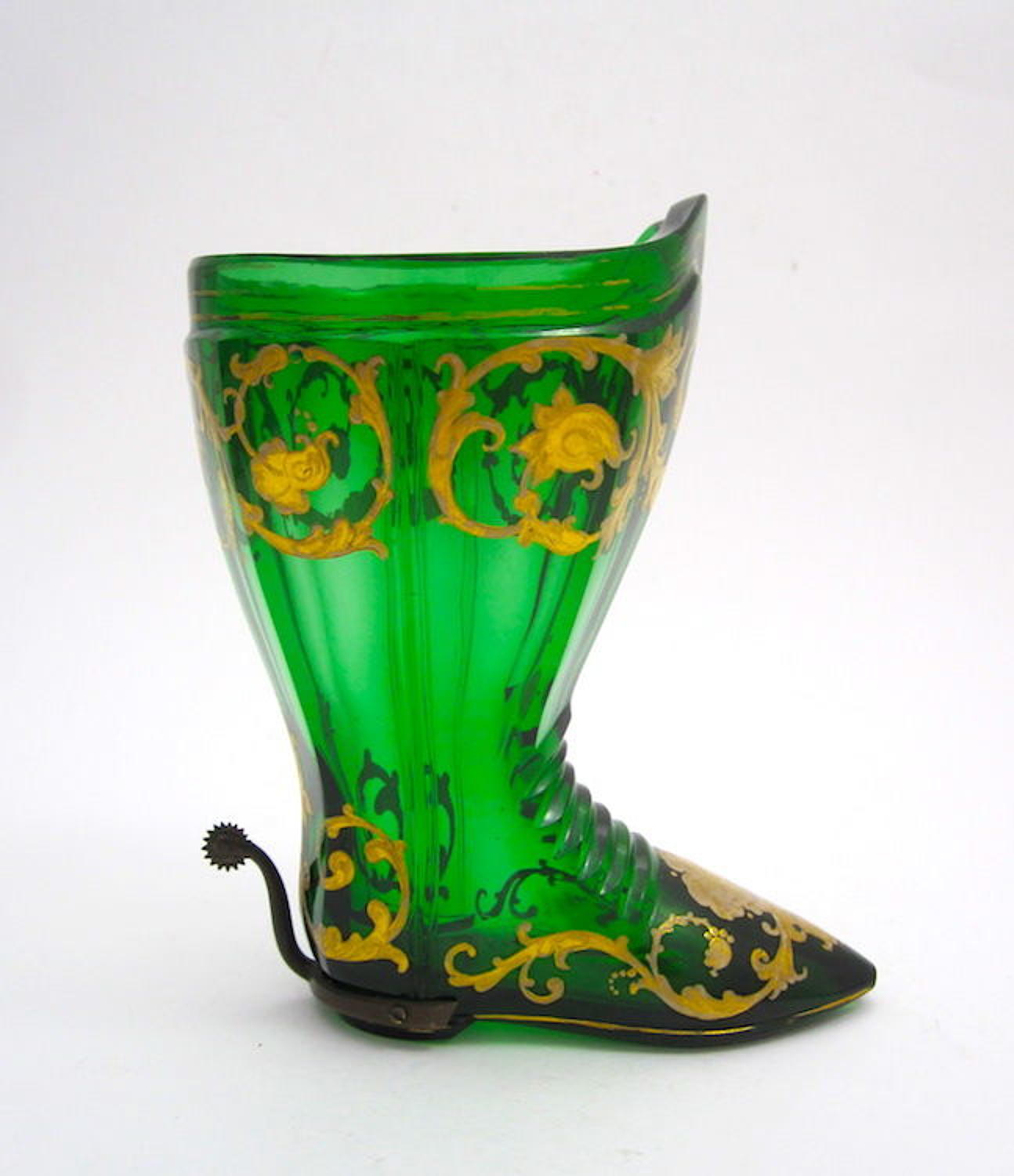 Antique Glass Boot Drinking Glass with Original Stirrup