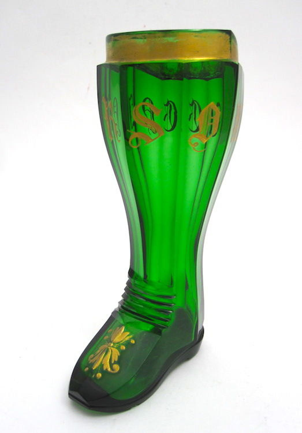 Antique Bohemian Whimsical Glass Boot Drinking Vessel