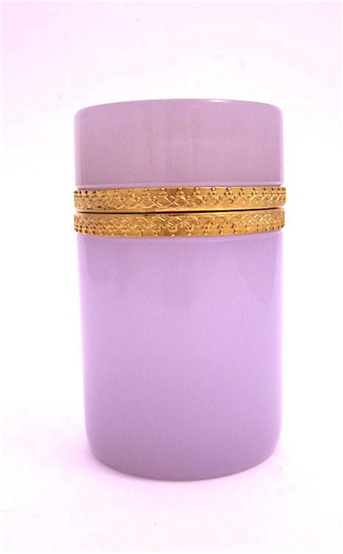 Antique Cylindrical Pink Alexandrite Glass Casket Box