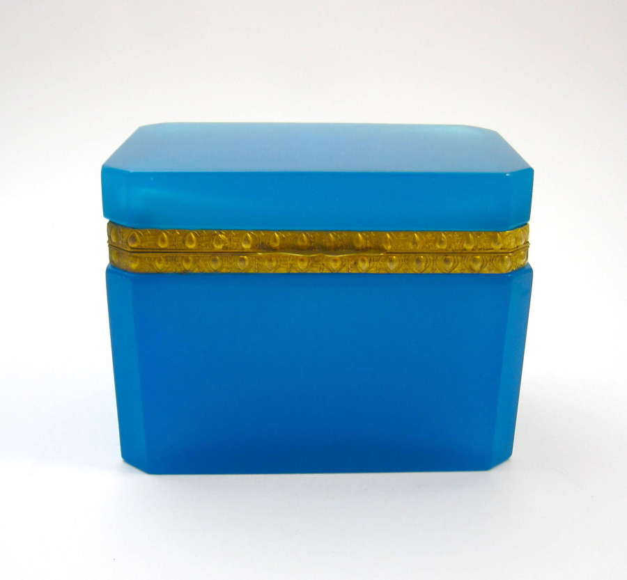 Antique French Rectangular Blue Opaline Casket Box