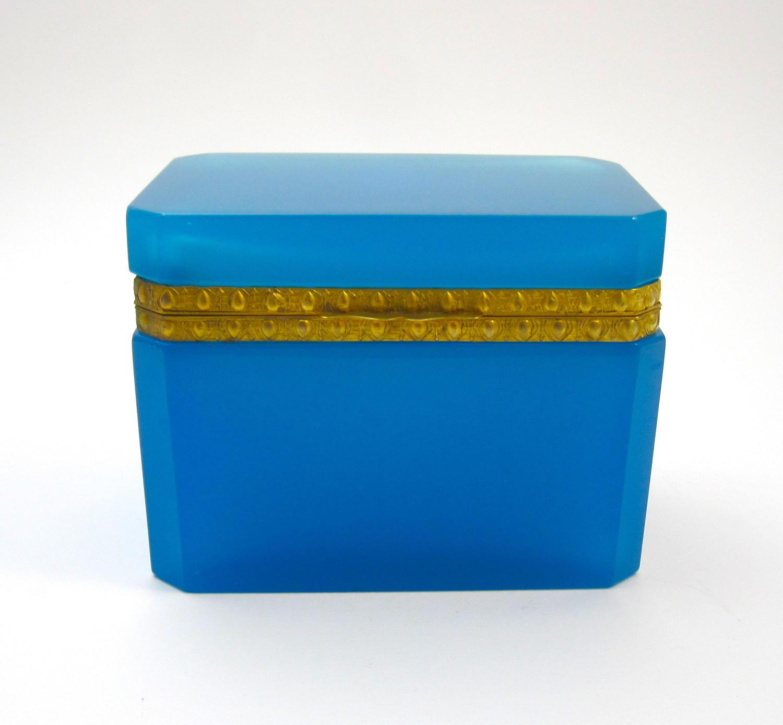 Antique French Rectangular Blue Opaline Casket Box