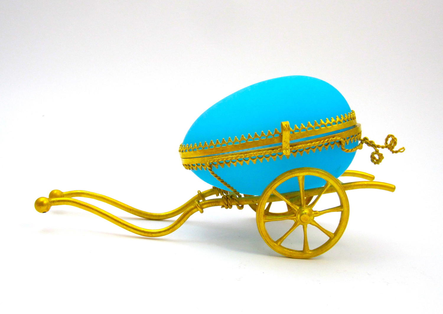 Antique Palais Royal Dore Bronze Cart with Blue Opaline Egg Box