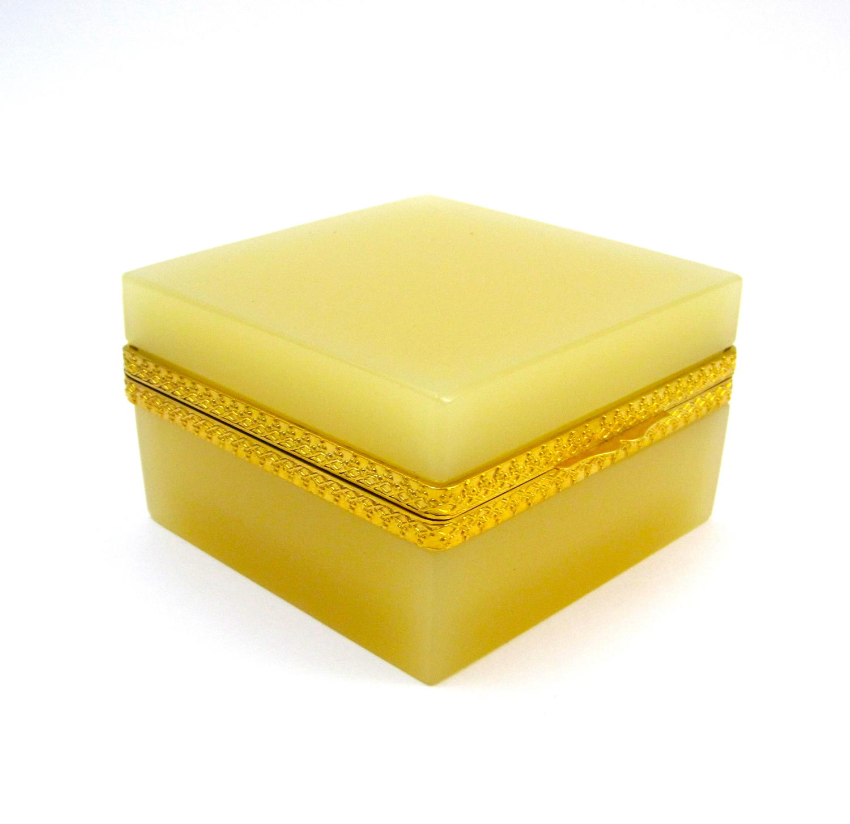 Antique Murano Square Yellow Opaline Glass Casket Box