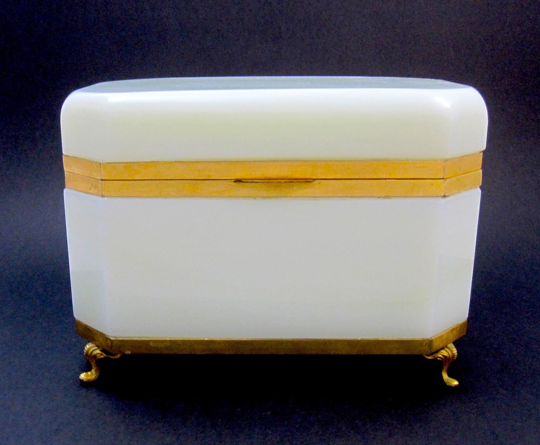 XL Antique White Opaline Glass Casket Box