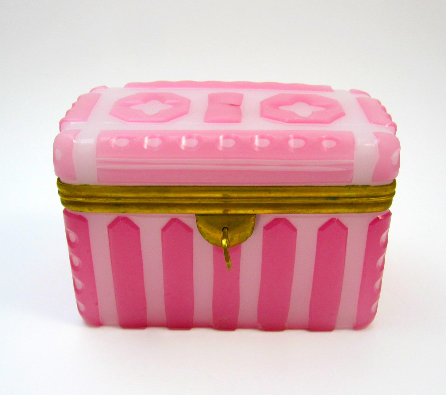 A Rare and Stunning Pink Opaline Glass' Barfatan' Casket Box