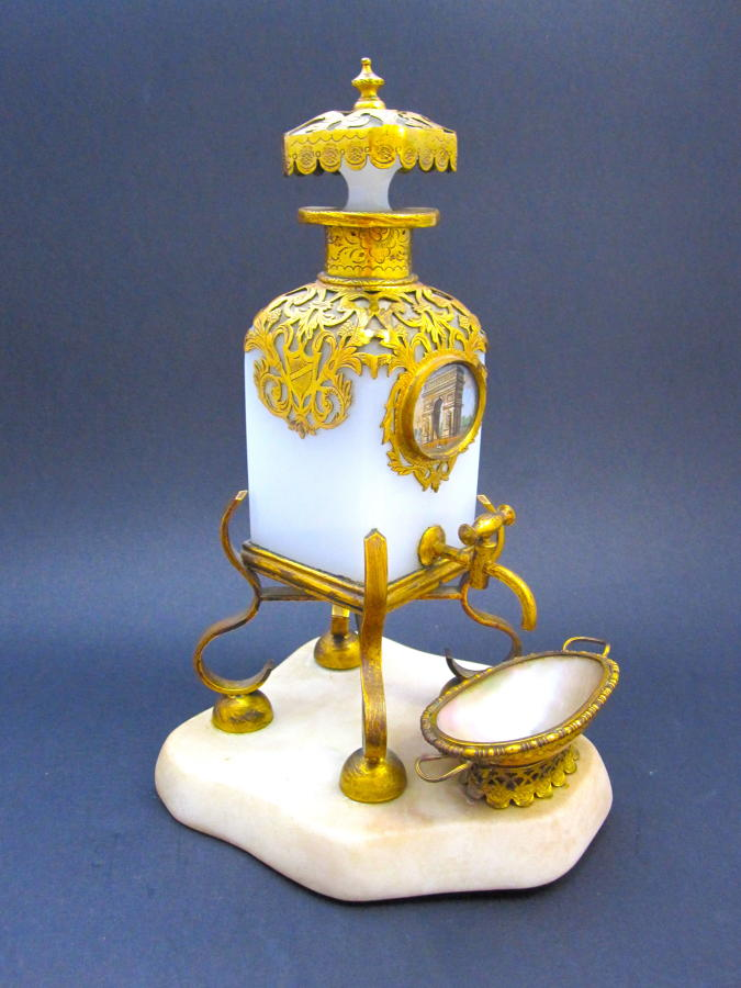 Rare Large Antique Palais Royal White Opaline Glass Perfume Bottle