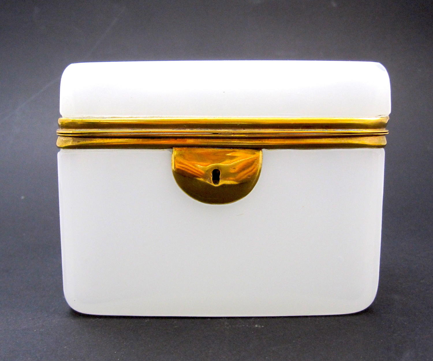 Antique French White Opaline Glass Casket with Smooth Dore Mounts