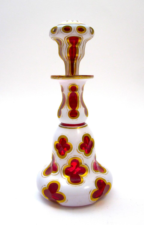 Stunning Antique Bohemian Overlay Perfume Bottle