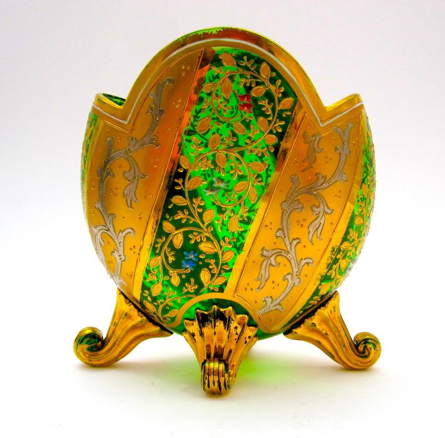 AntiqueMOSER Green Enamelled Glass Vase