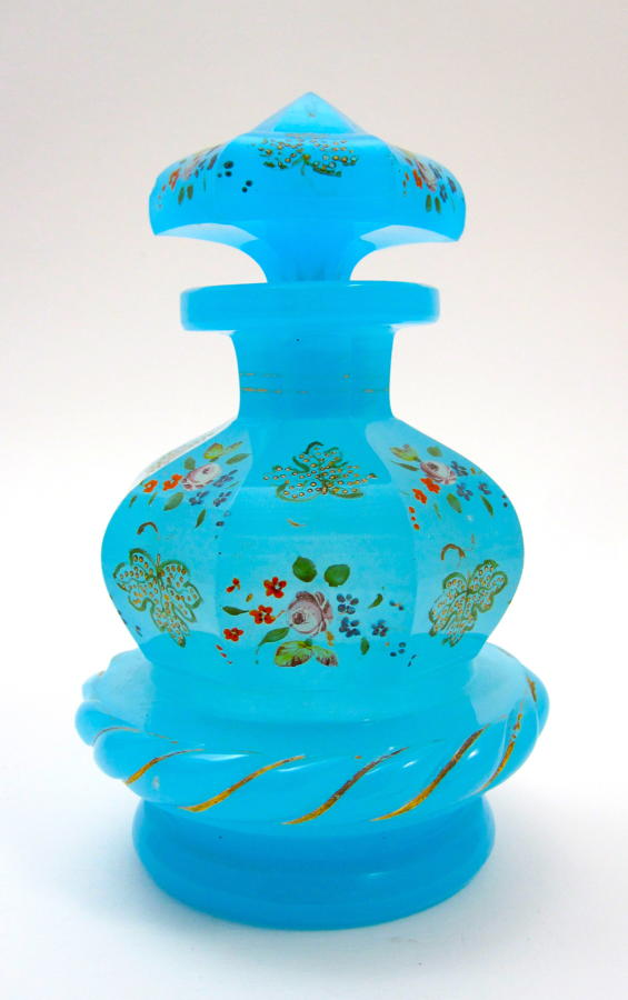 Rare Antique Blue Opaline Glass Perfume Bottle