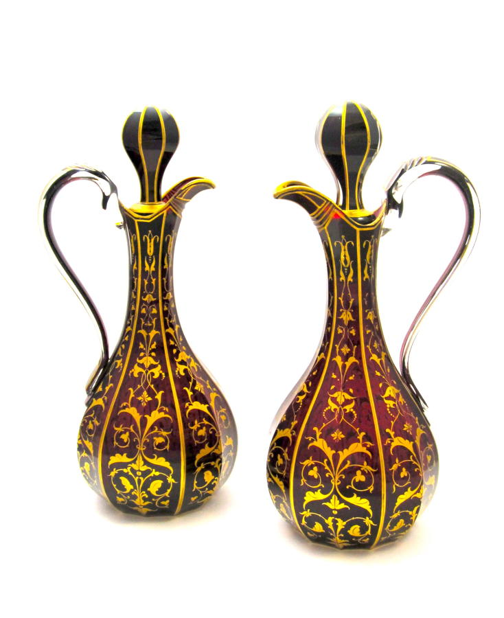 A Pair of Tall High Quality Bohemian Ruby Red Crystal Jugs