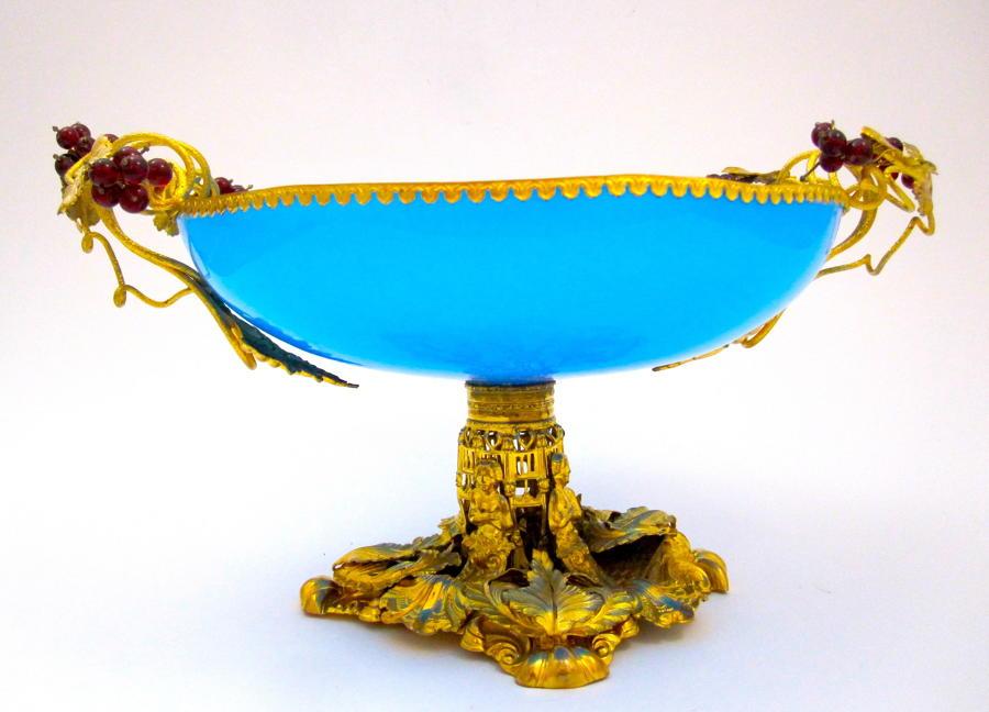Large Antique Palais Royal Blue Opaline Glass Bowl