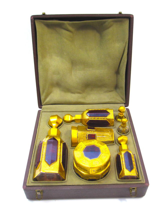 Rare Antique Boxed Moser Travelling Set