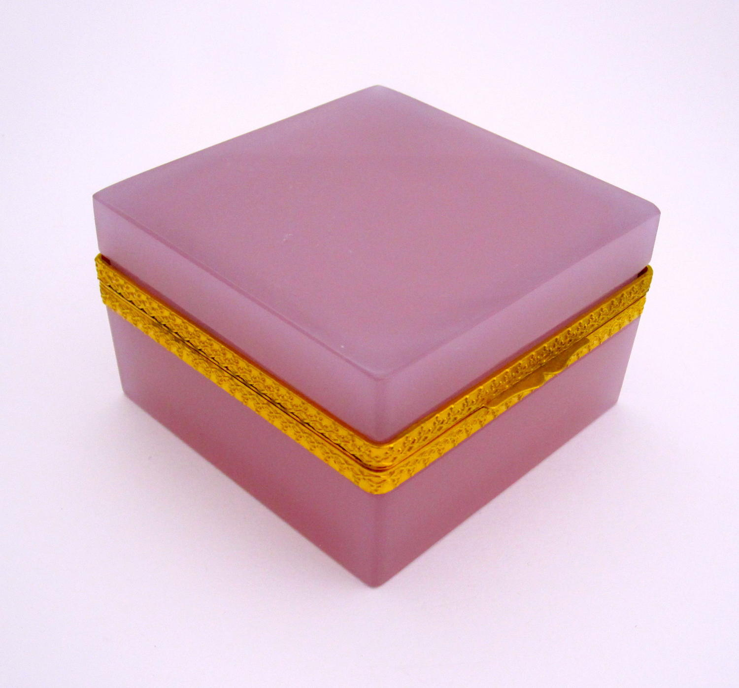 Antique Murano Square Pink 'Alexandrite' Glass Casket Box