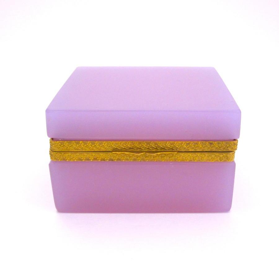 Antique Murano Square Pink 'Alexandrite' Glass Casket Box