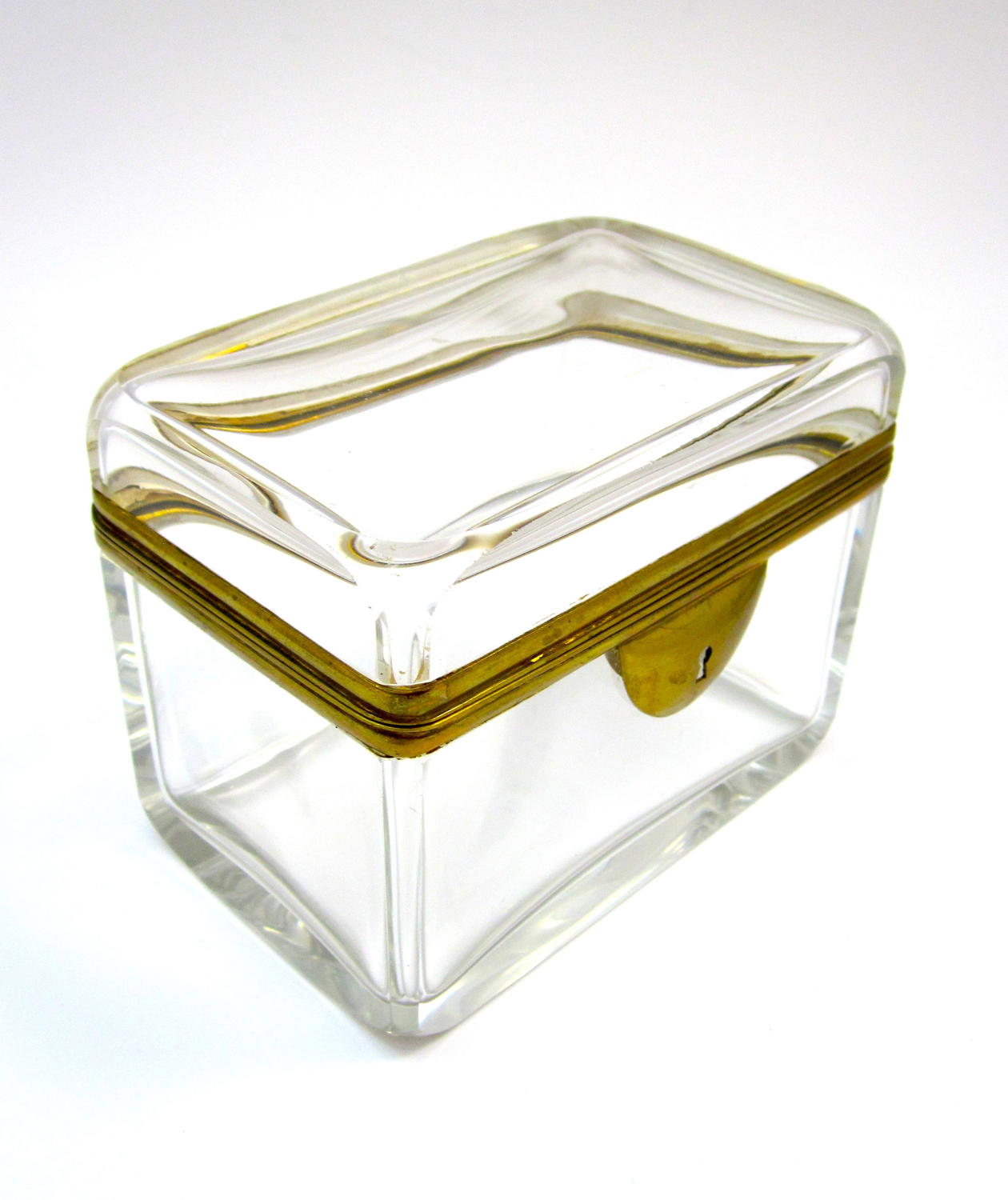 Antique French Glass Casket with Smooth Dore Mounts