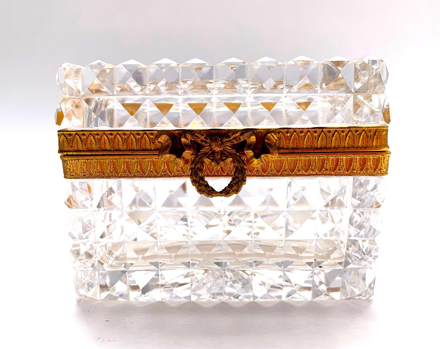 Antique Baccarat Cut Crystal Casket with Dore Bronze Bow Clasp