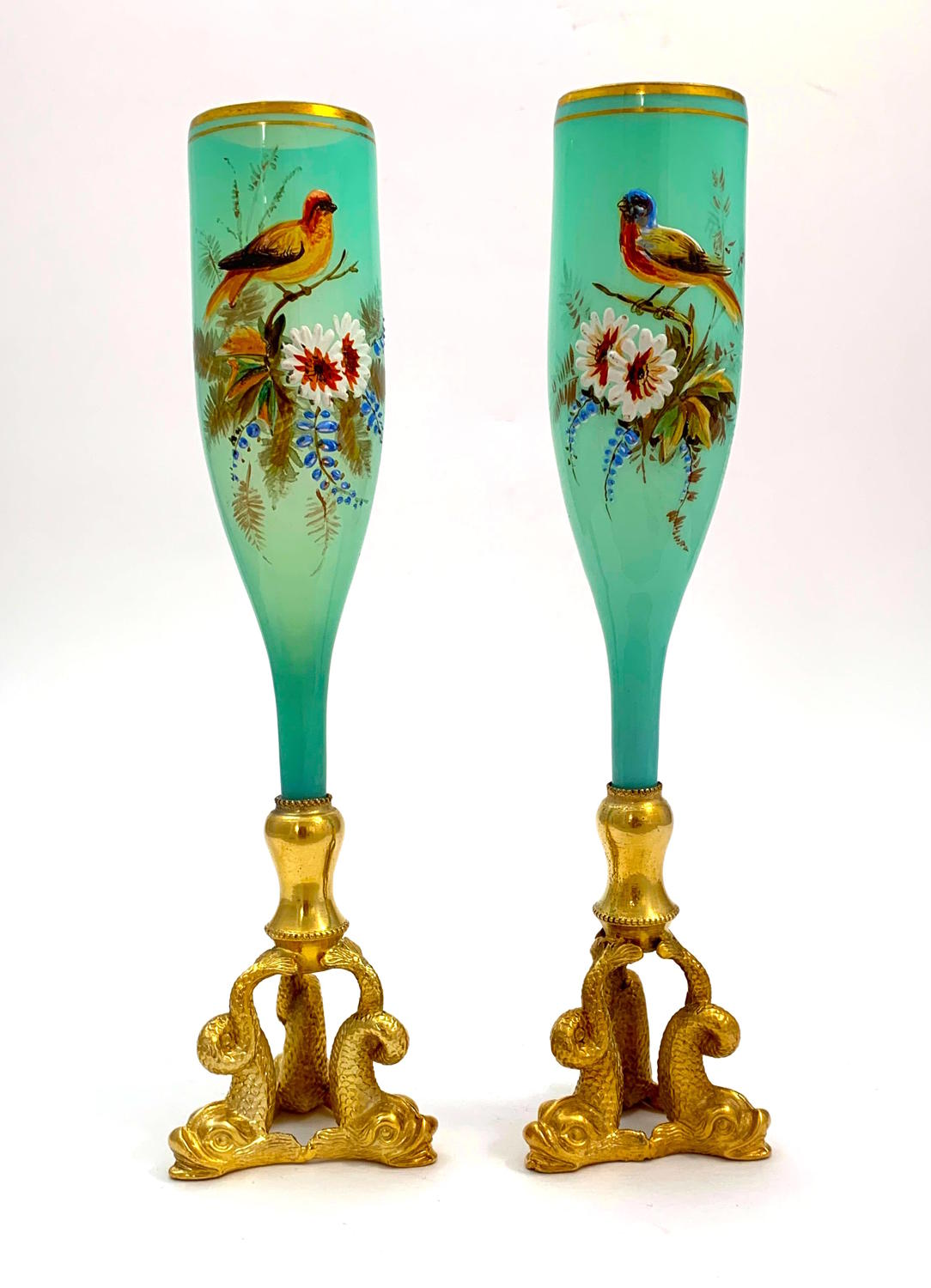 Pair of Antique French Opaline Vases Enamelled with Birds