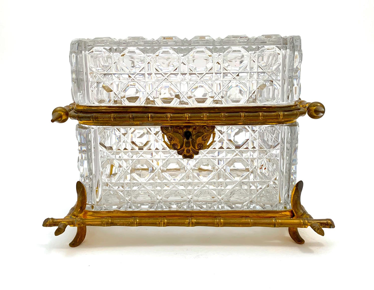 Antique French Cut Crystal and Dore Bronze Casket Box