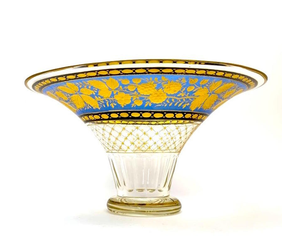 Stunning Large Antique Bohemian MOSER Blue and Gold Enamelled Bowl