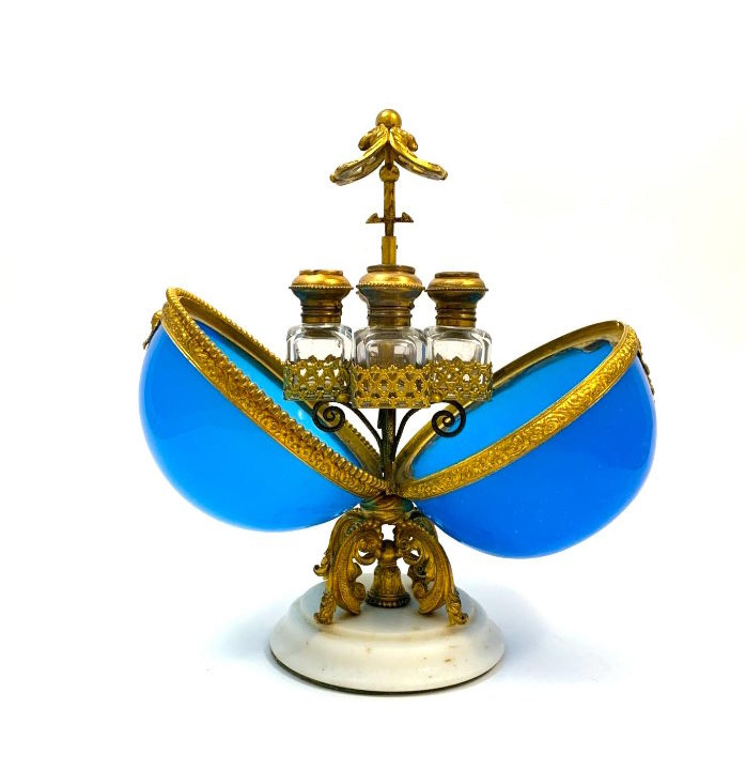 A Large Antique Palais Royal Blue Opaline Glass Perfume Casket