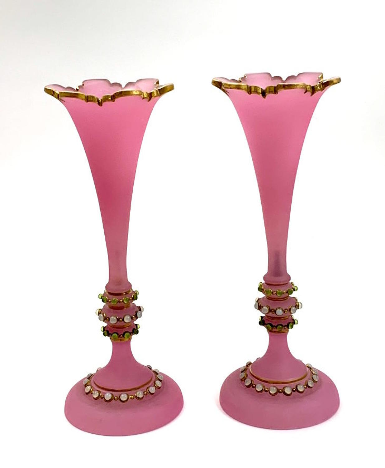 Pair of Antique French Pink Opaline Glass Jewelled Vases