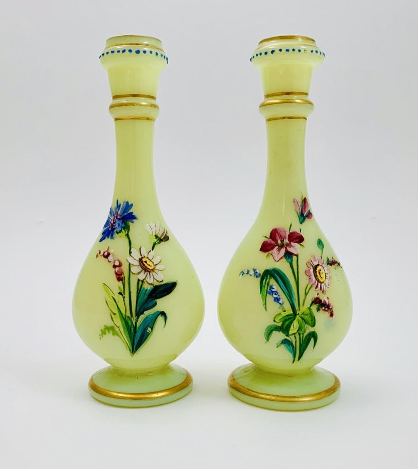 Pair of Antique Yellow Opaline Miniature Vases
