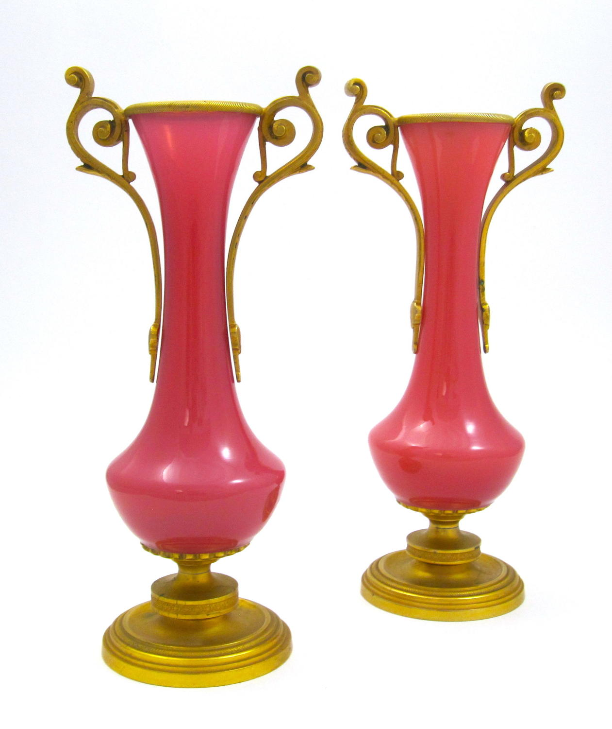 Pair of Stunning Pink Opaline Glass Vases
