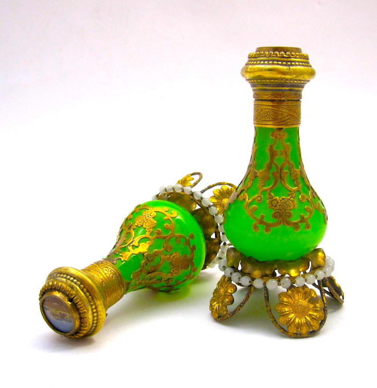 Pair of Antique Palais Royal Green Opaline Perfume Bottles